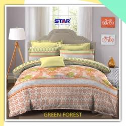 sprei-star-green-forest coklat